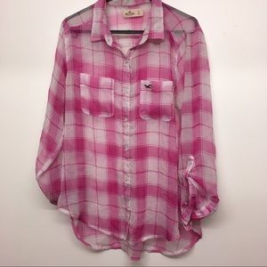 Hollister Pink/White Plaid Button Down Blouse L